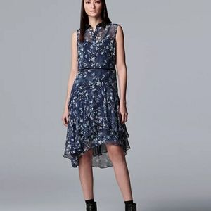 Petite Simply Vera wang print ruffle shirt dress